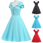Vintage Style Rockabilly Retro Swing 50's 60's Pinup Housewife Prom Dress S M~XL