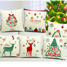 Merry Christmas Square Cotton Linen 45*45cm Cushion Cover Pillow Case Home Decor