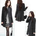Black/Grey Women Winter Warm Double-Breasted Slim Trench Coat Ladies Long Jacket