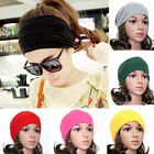 New Women Soft Wide Cotton Turban Elastic Headwrap Headband Yoga Hair Band Clip