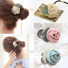 Womens Elastic Lace Rose Flower Hair Band Rope Ponytail Holder Scrunchie