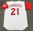 DEION SANDERS Cincinnati Reds 1997 Majestic Throwback Home Baseball Jersey
