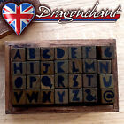 28pc Alphabet Rubber Stamps Wooden Box Set Scrapbook Style Letters Numbers UK