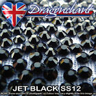 1 GROSS JET BLACK SS12 IRON ON HOTFIX RHINESTONES QUALITY DIAMOND CRAFT BEADS