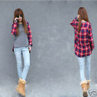 Women Long Sleeve Crew Neck Plaid Checks Print Casual Loose Top T-Shirt S M L XL
