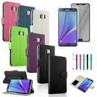 Stand Leather Wallet Case Cover+Touch Pen+Privacy Film For Samsung Galaxy Note 5
