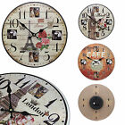 Shabby Chic Large 34cm Distressed Rustic Wall Clock with Photo Frame