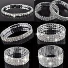Charm Sliver Crystal Rhinestone Stretch Bracelet Bangle Wedding Bridal Wristband