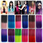 Colorful Fashion One Piece Half Head Clip in Hair Extensions Cosplay Blue Purple