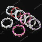 Fashion 2-row Faux Pearl Crystal Glass Spacer Bead Bracelet Bangle Women Jewelry