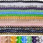 """Crystal Faceted Abacus Rondelle Glass Loose Bead Jewelry Findings Making DIY 15"""""""