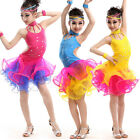 Kids Adults Ballroom Latin Sequins Dance Dress Girls lady Dancewear Costumes