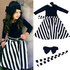 3Pcs Toddler Girls Headband+Top Shirt+Striped Skirt Dress Set Kid Clothes Outfit