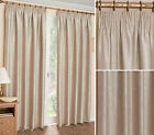 Apollo Embossed Pencil Pleat Tape Woven Thermal Blockout Curtains, Cream