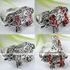 Silver Plated Crystal Elephant Cocktail Party Finger Ring Charms Adjustable Gift