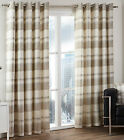 Balmoral Check Tartan Woven Cotton Eyelet Ring Top Lined Curtains, Natural Beige
