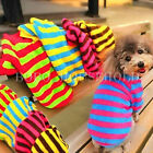 Puppy Pet Dog Cat Coral Fleece Stripe T Shirt Clothes Apparel Jumper Sweater
