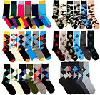 6 Pairs Mens Fashion Dress Socks Multi-Colors Designer Prints Argyle Pattern Lot