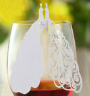 Pearlescent Peacock wedding favor mark wine glass cards table name card laser