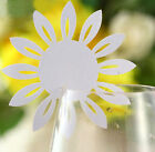 Pearlescent Sunflower wedding favor mark wine glass cards table name card laser