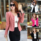 Womens Zipper OL Long Sleeve Slim Casual Suits Blazer Jacket Coat Tops Polyester