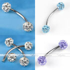 1x Stainless Steel 18G Czech Crystal Barbell Bars Curved Eyebrow Ring Piercing