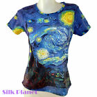 VINCENT VAN GOGH Starry Night Sky Moon Blue TOP T SHIRT FINE ART PRINT PAINTING