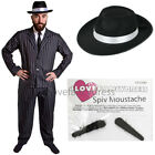MENS GANGSTER COSTUME WITH BLACK HAT 5 PIECE 1920S FANCY DRESS MAFIA PINSTRIPE
