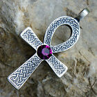 Ankh Cross of life Celtic Acrylic Crystal Purple Amethyst Febuary pewter pendant