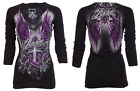 Archaic AFFLICTION Womens LS T-Shirt ROSEMARY Tattoo Sinful Vocal S-XL $58 b