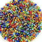 100g MIXED SILVER-LINED glass seed beads - choose size 6, 8, 11/0 (4, 3, 2mm)
