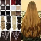 Brown Clip in Hair Extensions full head 8 piece Fashion Black dc25