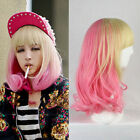 Halloween Women's  Short Yellow and Pink Mixed Anime Cosplay wig New