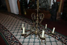 Antique Victorian Chandelier-6 Light Chandelier Light-Brass Metal-Crystals-LQQK