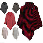 New Womens Ladies Stylish Spotted Dots Buttons Wrap Poncho One Size Shawl Punchu