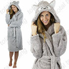 Ladies Hooded hood robe dressing Gown warm winter gift animal fleece  OWL  FOX