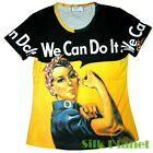 WE CAN DO IT ROSIE THE RIVETER WWII PAINTING T SHIRT POP ART PRINT PIN UP