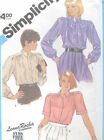Vintage 80s Misses Blouse Tie Sewing Pattern Yoke Concealed Front Buttons 6495