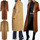 Ladies Bonded Collared Suede Duster Coat Womens Open Front Soft Cape Cardigan