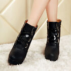 2015 New Sexy Womens Lace Up Buckle Platform Block Heel Ladies Ankle Boots Size