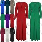 Womens Ladies Bridesmaid Plain Evening Dinner Front Knot Twisted Maxi Dress
