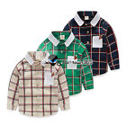 Autumn Baby Child Kids Toddlers Boys Cage Plaid White Collar Long Shirt Top 2-8Y