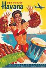 Vintage Mexican Airlines Flights To Gay Havana Cuba Poster A3 Print