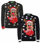 Christmas Jumpers New Novelty Xmas Knit HoHoHo Rudolf Red Nose Reindeer Face