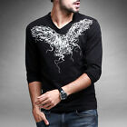 Mens Long Sleeve T-Shirt Casual Cotton XS -Large Black
