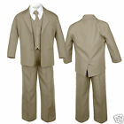 Dark Khaki Baby Toddler Boy Toddler Kid Formal Tuxedo Vest 5pc Set Suit sz S-14