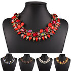 Fashion Jewelry Crystal Layer Chunky Statement Bib Pendant Chain Choker Necklace