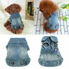 Pet Dog Puppy Cat Soft Blue Jean Coat Dress Shirt Jacket Clothes Costume Apparel