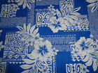 Hawaiian Print Cotton Fabric, Blue with turtle and hibiscus - sample available