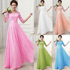 NEW Half Sleeve Lace Chiffon Formal Evening Maxi Party Long Prom Beachwear Dress